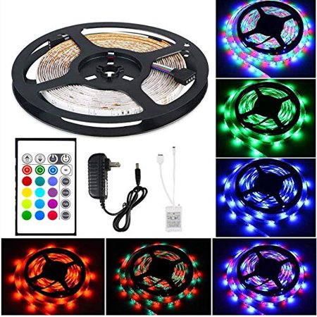 LED Strip Lights Flexible Energy Efficient 16 Multi Color Changing Selections Remote Controlled Party Light Show 6.5ft Decorative Easy Setup Adhesive Tape Great for Home Entertainment (LED Strips)