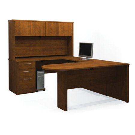 Bestar Executive U-Shaped Workstation in Cappuccino Cherry & Slate