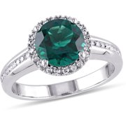 1-5/8 Carat T.G.W. Created Emerald and 1/4 Carat T.W. Diamond 10kt White Gold Halo Cocktail Ring