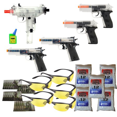 Airsoft Party Package - Clear Airsoft Pistols + UZI + Safety Glasses + BBs & Targets