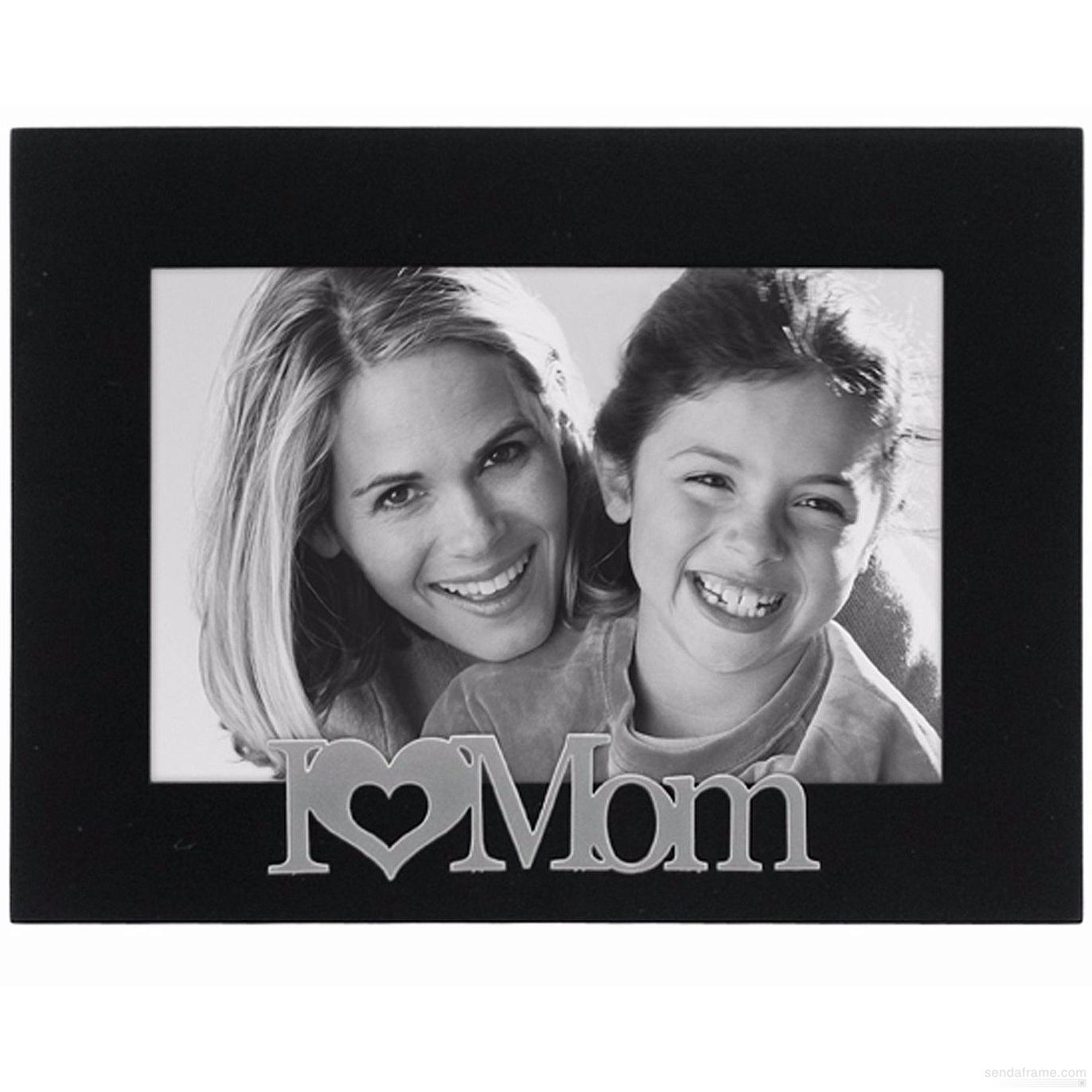 I  HEART  MOM Ebony-Black keepsake frame