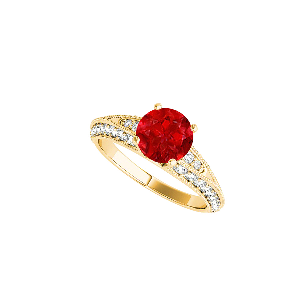 Ruby and CZ Engagement Ring in 18K Yellow Gold Vermeil - image 2 de 2