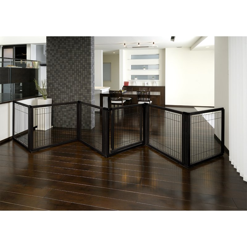 Richell Convertible Elite Pet Gate - 6 Panel - Black