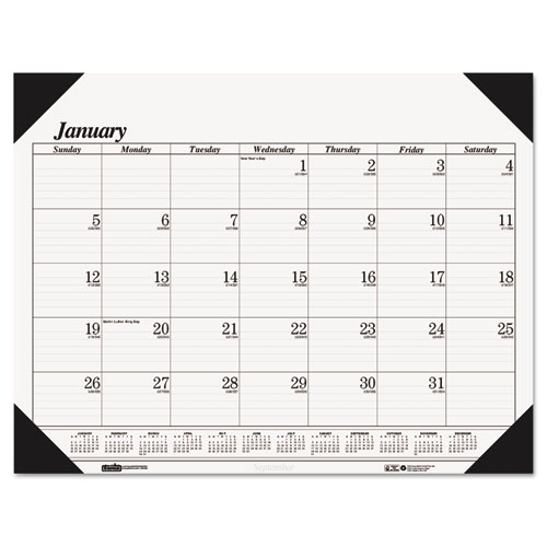 "House of Doolittle Economy Refillable Desk Pad - Julian - Monthly - 1 Year - January 2018 till December 2018 - 1 Month Single Page Layout - 22"" x 17"" - Desk Pad - White, Black - Leatherette - Refillab"