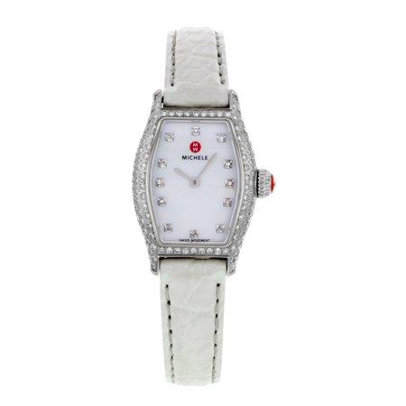 Michele Urban Coquette White MOP Dial Diamonds Steel Ladies Watch MWW08A000223