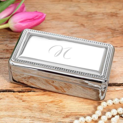 Personalized Beaded Silver Jewelry Box L