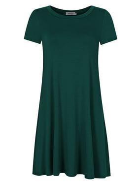 Women's Loose T-shirt Dress Elegant Short Sleeve Casual Dress Green S