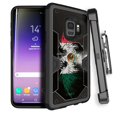 Max Eagle Series - Samsung Galaxy S9 Case w/ Advanced Two-Part Protection [MAX DEFENSE Case Series for Galaxy S9] Galaxy S9 Case w/ Built-in Stand and Bonus Clip-on Holster [ for Galaxy S9 2018 ] - Mexico Eagle