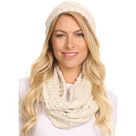 - Sakkas Haile Metallic Threaded Woven Classic Hat Beanie And Infinity Scarf Set - Beige - OS