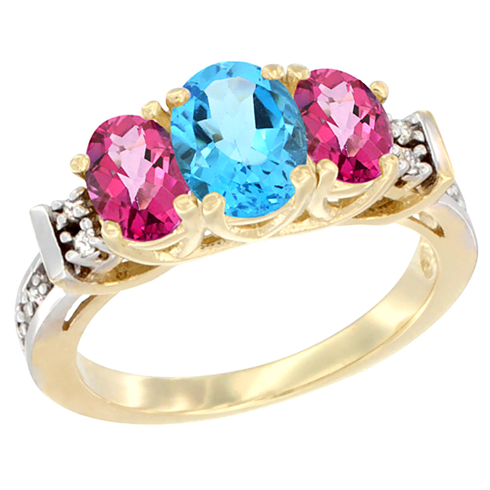 14K Yellow Gold Natural Swiss Blue Topaz & Pink Topaz Ring 3-Stone Oval Diamond Accent by WorldJewels