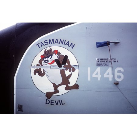 Canvas Print Nose art with the Tasmanian Devil Warner Brothers cartoon character decorates an American KC-135R Stretched Canvas 10 x - Decorate An Office