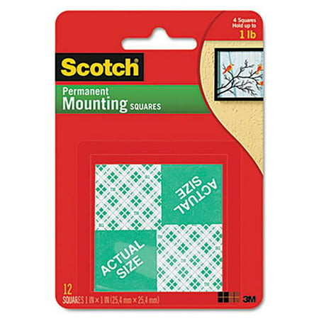 3M 111P Precut Foam Mounting 1 Squares, Double-Sided Permanent - 16 per (Permanent Mounting Squares)