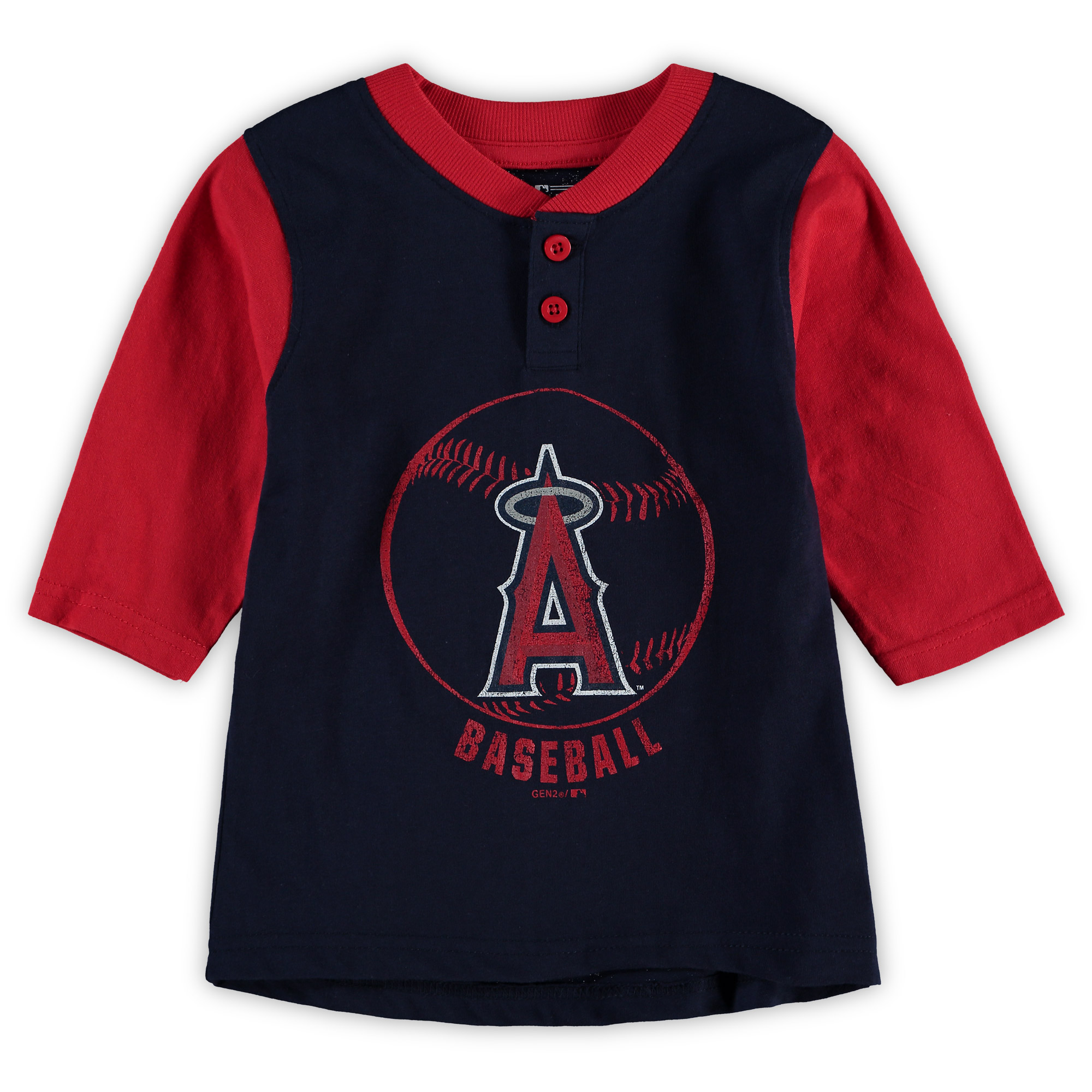 Los Angeles Angels Toddler Legacy Henley 3/4-Sleeve T-Shirt - Navy/Red