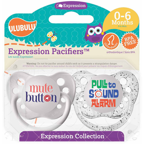 Ulubulu Mute Button/Pull To Sound Alarm Pacifiers, 0-6 Months, 2-Pack