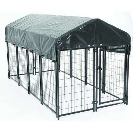 - American Kennel Club® AKC® Pet Resort 4ft x 8ft x 52in. High Heavy-duty Dog Kennel with Roof & Cover for Backyard & Patio with Free Training Guide