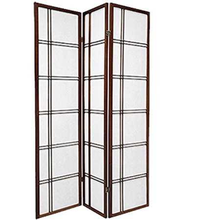 3 Panel Double Cross Shoji Screen Room Divider, Espresso Color, By Legacy Decor