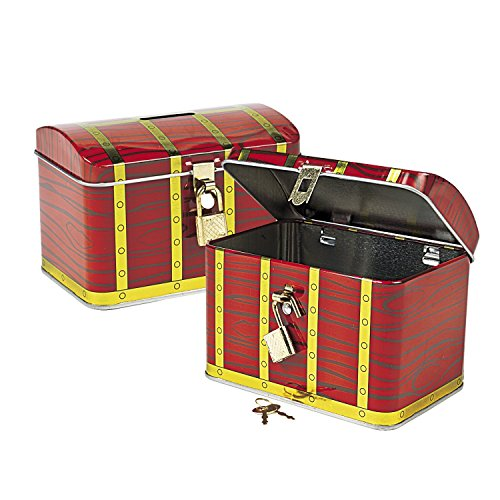 Fun Express Metal Pirate Treasure Chest with Lock 2 CT with Pirate Party Favor Gold Play Coins, 144Pieces