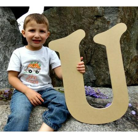 Letter U Crafts (Paintable Wood Letter, Beltorian U 18'' Wall)
