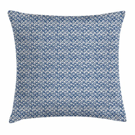 Indonesia Batik (Tie Dye Throw Pillow Cushion Cover, Hand Drawn Style Indonesian Batik Pattern with Curves and Small Triangles, Decorative Square Accent Pillow Case, 18 X 18 Inches, Navy Blue and Cream, by Ambesonne )