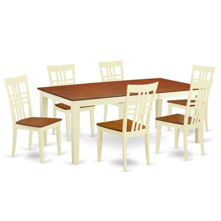 East West Furniture QULG7-BMK-W Dining Room Set with One Quincy Table & 6 Chairs, Buttermilk & Cherry - 7 Piece