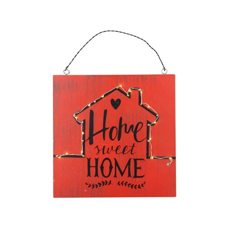 """8"""" Battery Operated LED Lighted Red Rustic """"Home Sweet Home"""" Wall Sign"""