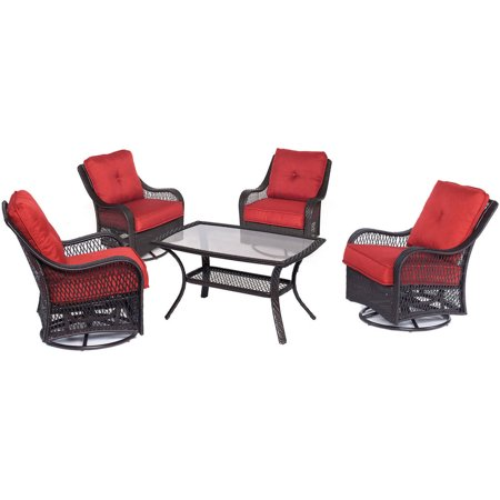 Hanover Outdoor Orleans 5 Piece Woven Patio Chat Set