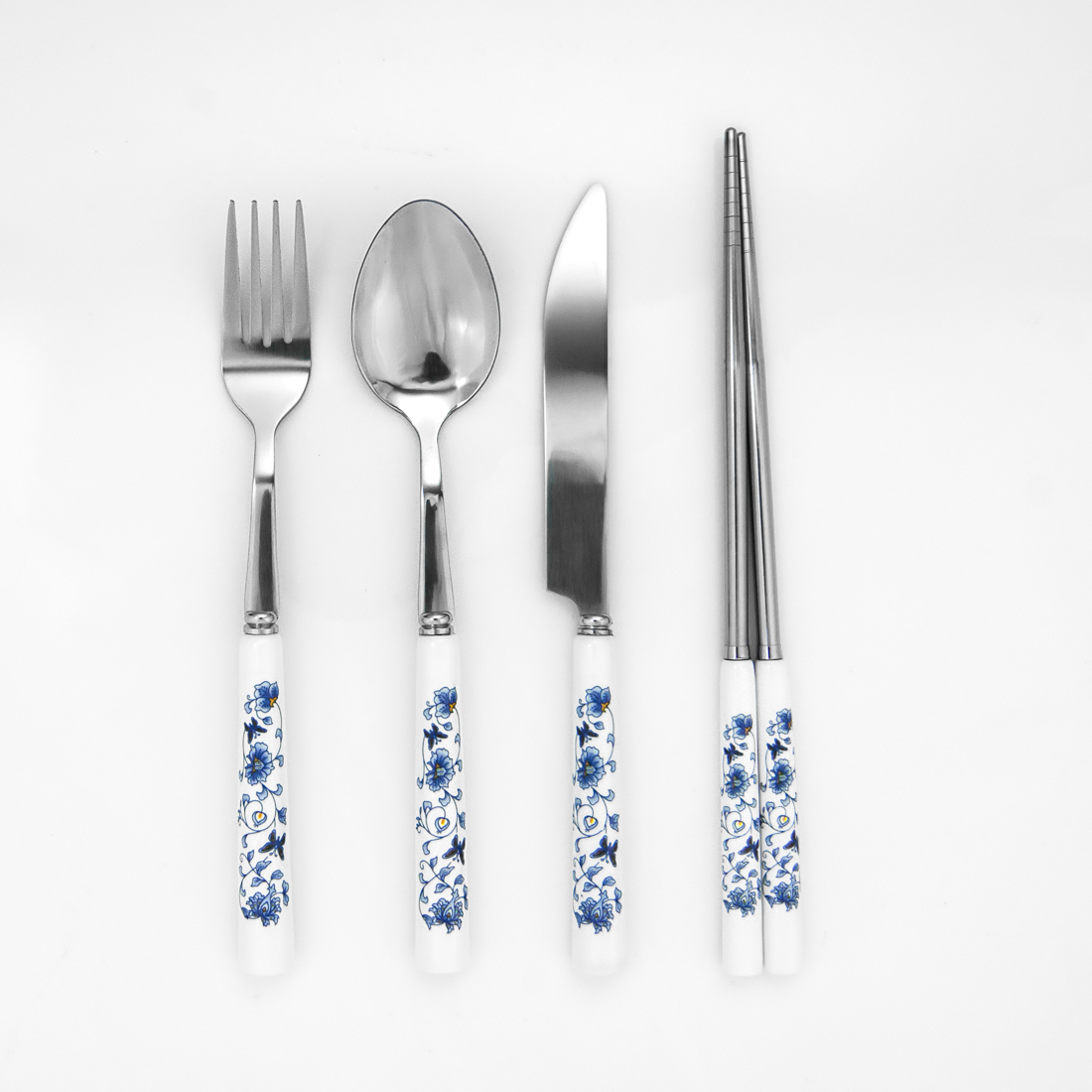 Blue Floral Silverware Set with Chopsticks by
