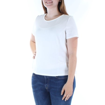 BAR III Womens White  Short Sleeve Jewel Neck Casual T-Shirt Top