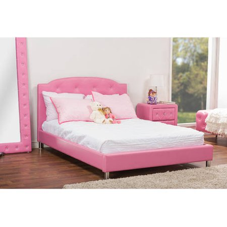 Baxton Studio Modern Contemporary Hot Pink Faux Leather Queen Platform Bed