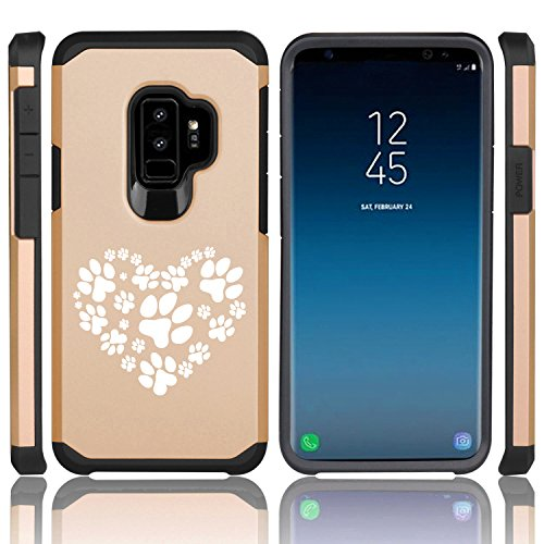 For Samsung Galaxy Shockproof Impact Hard Soft Case Cover Heart Paw Prints (Gold for Samsung Galaxy S9+ (Plus))