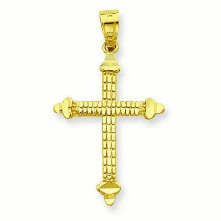 10k Yellow Gold Budded Cross Pendant - .7 Grams