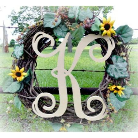 Hanging Wooden Wall Letters - Unfinished Wooden Letter, Vine Monogram K 18