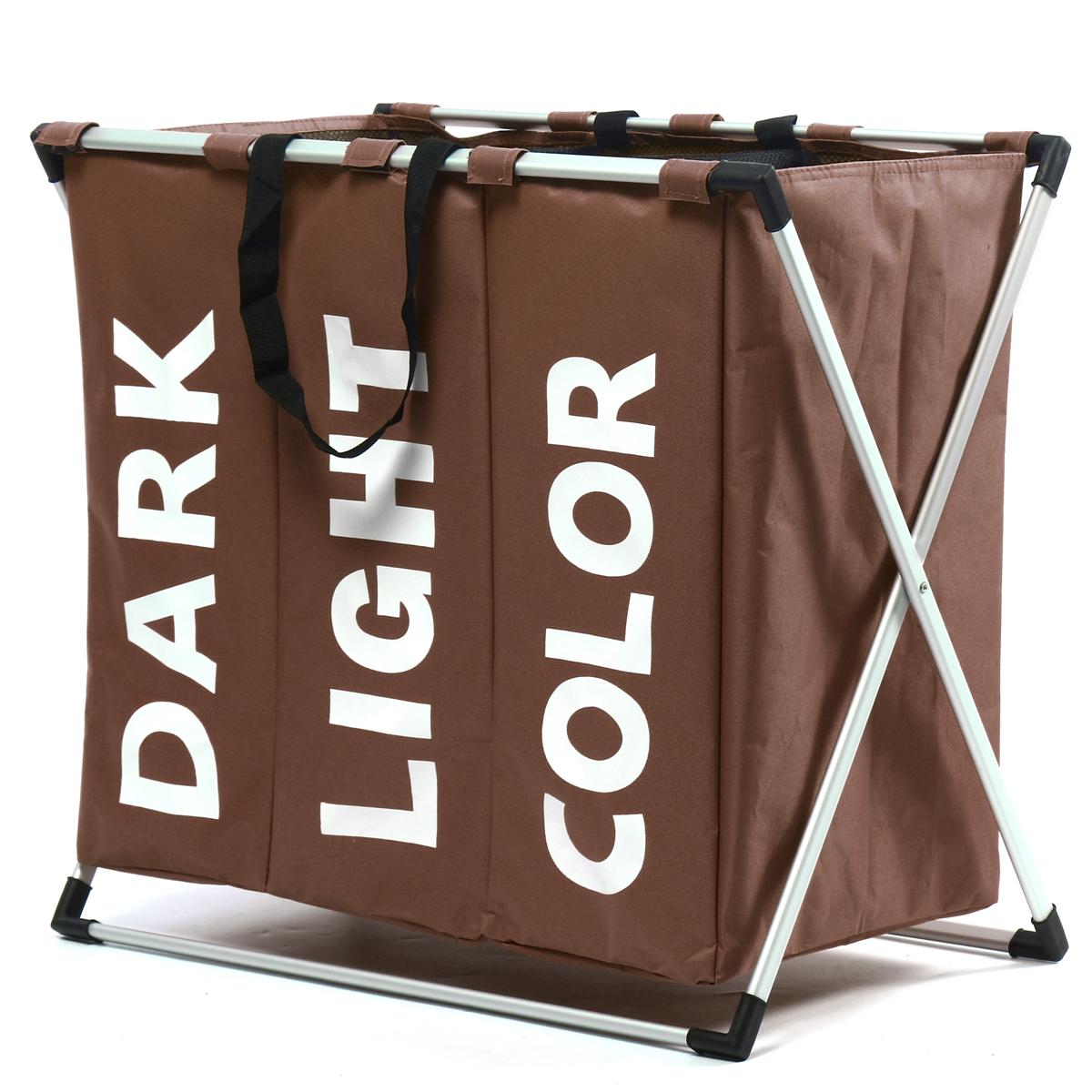 3 Lattice Portable Laundry Basket Washing Clothes Bin Sorter Bag Hamper Storage