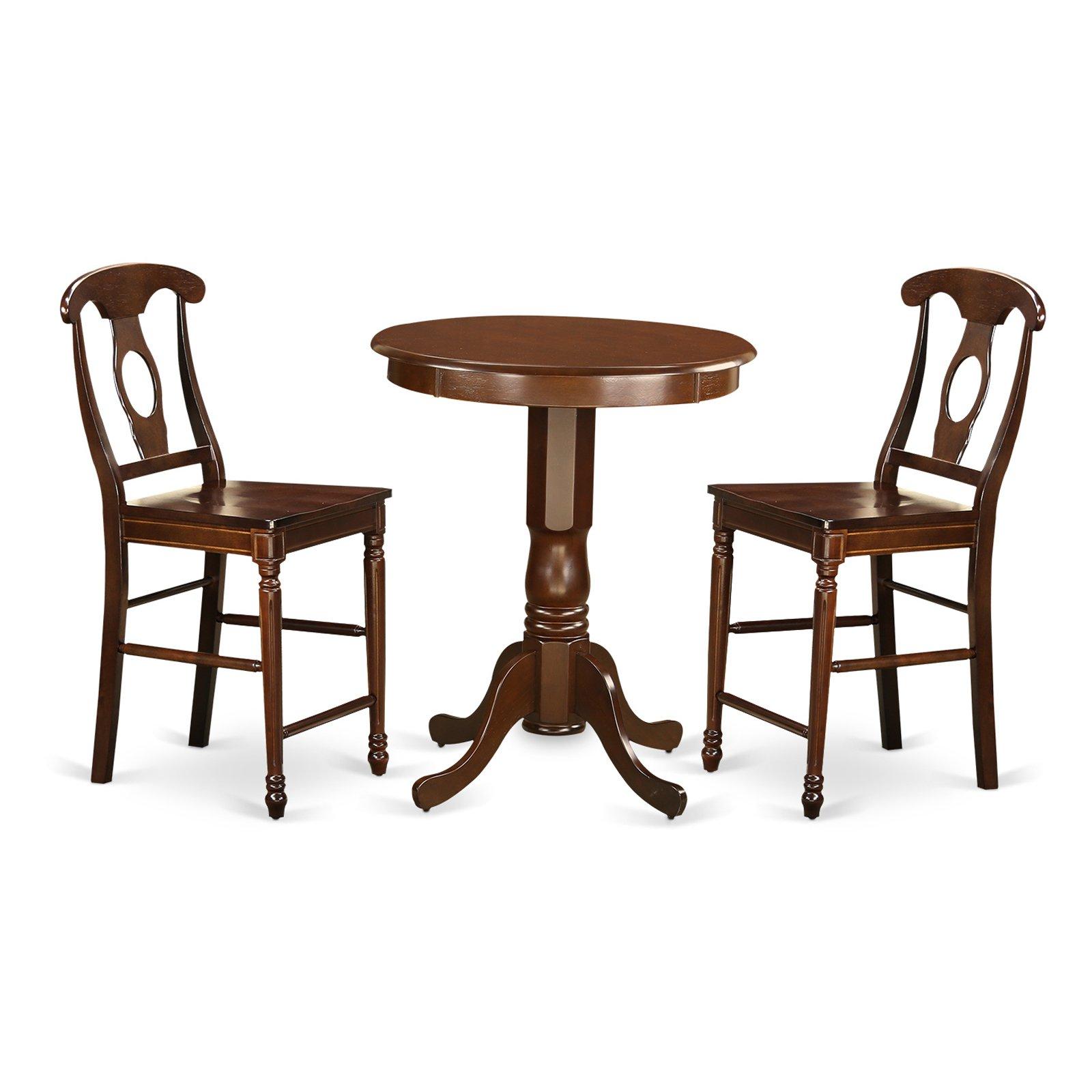 East West Furniture Eden 3 Piece Keyhole Dining Table Set