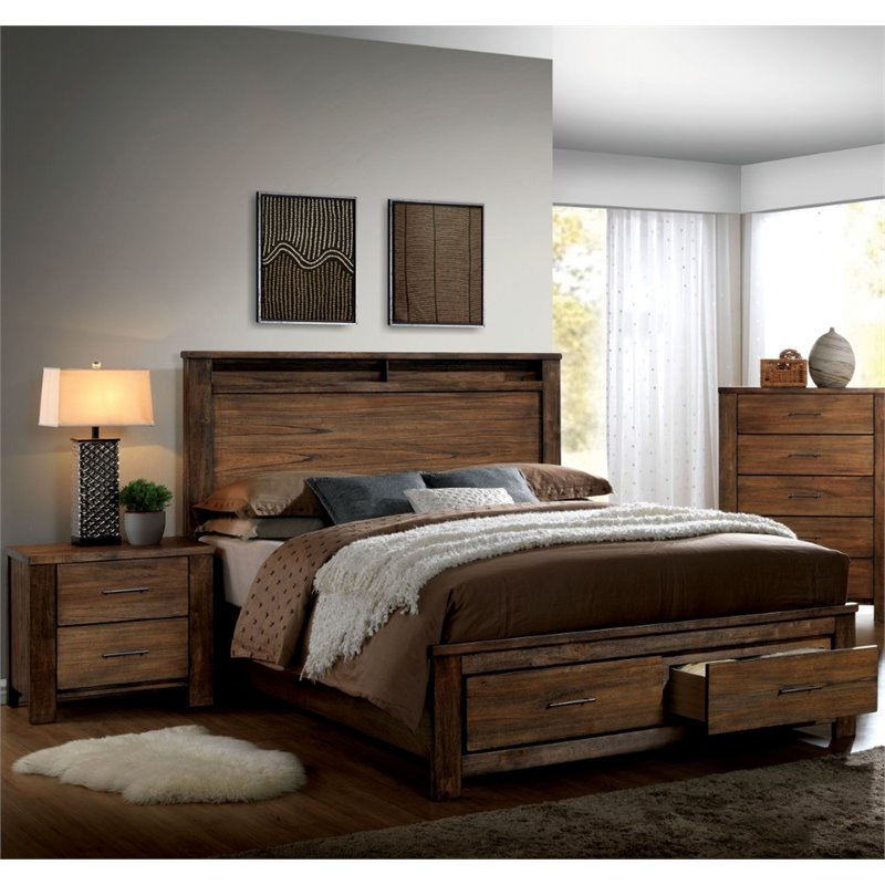Furniture of America Nangetti Rustic 2 Piece Queen Bedroom Set in Oak