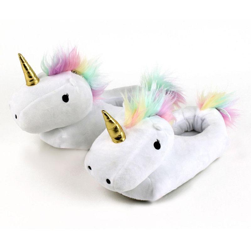 3D Unicorn Slippers Plush Soft Warm Winter Shoes Fluffy Unisex Cartoon Cute