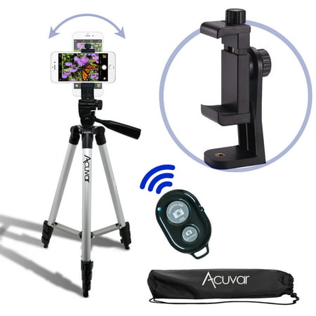 "Acuvar 50"" Smartphone/Camera Tripod, Rotating Mount & Bluetooth Camera Shutter. Fits iPhone  Xs, Xs Max, Xr, X, 8, 8+, 7, 7 Plus, 6, 6 Plus, 5s Samsung Galaxy, Android, etc."