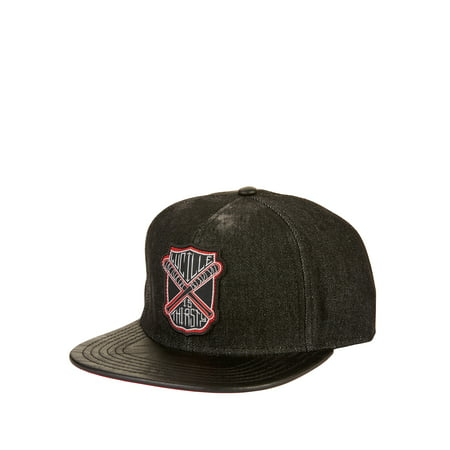 AMC's The Walking Dead Denim Snapback Cap with Lucille Patch and Faux Leather Flat Bill