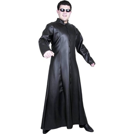 Adult's Street Fighter Matrix Man Black Faux Leather Long Fitted Trench Coat](The Matrix Costumes)