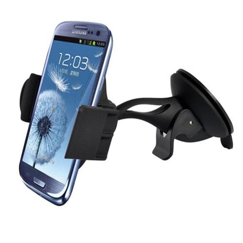 Samsung Galaxy J7 Premium Car Mount Phone Holder Windshield Swivel Cradle Window Dock Stand Strong Suction B4N