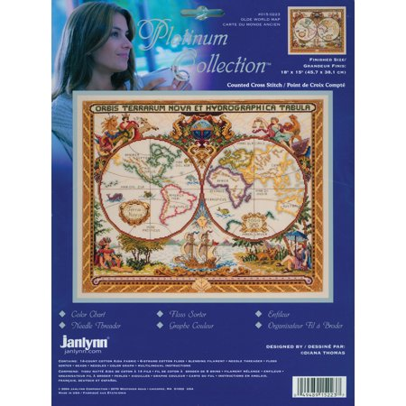 Janlynn Platinum Collection Counted Cross Stitch Kit, Olde World Map - Janlynn Platinum Collection