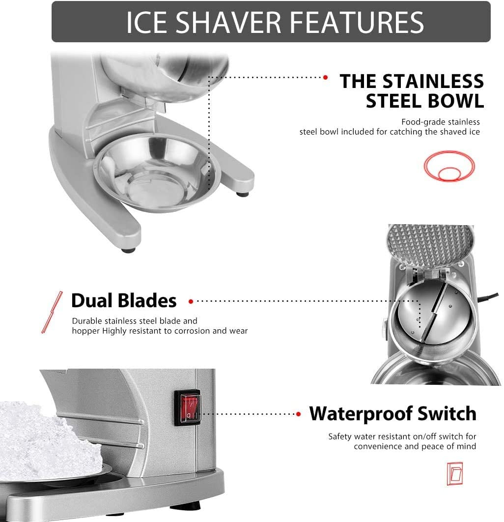 11 Inch Height Electric Dual Blades Ice Crusher Shaver Snow Cone Maker Machine Silver 143lbs Hr For Home And Commercial Use Walmart Com Walmart Com