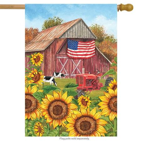 "sunflower barn fall house flag patriotic autumn 28"" x 40"" briarwood lane"