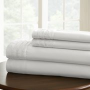1000 Thread Count Solid Cotton Rich 4-Piece Sheet Set with Pintuck Hem