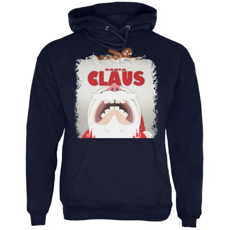 Christmas Santa Jaws Claus Horror Navy Adult Hoodie