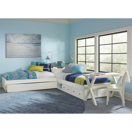 Hillsdale Pulse L-Shaped Twin Bed with Storage and Trundle, Multiple (Hillsdale House White Bed Set)