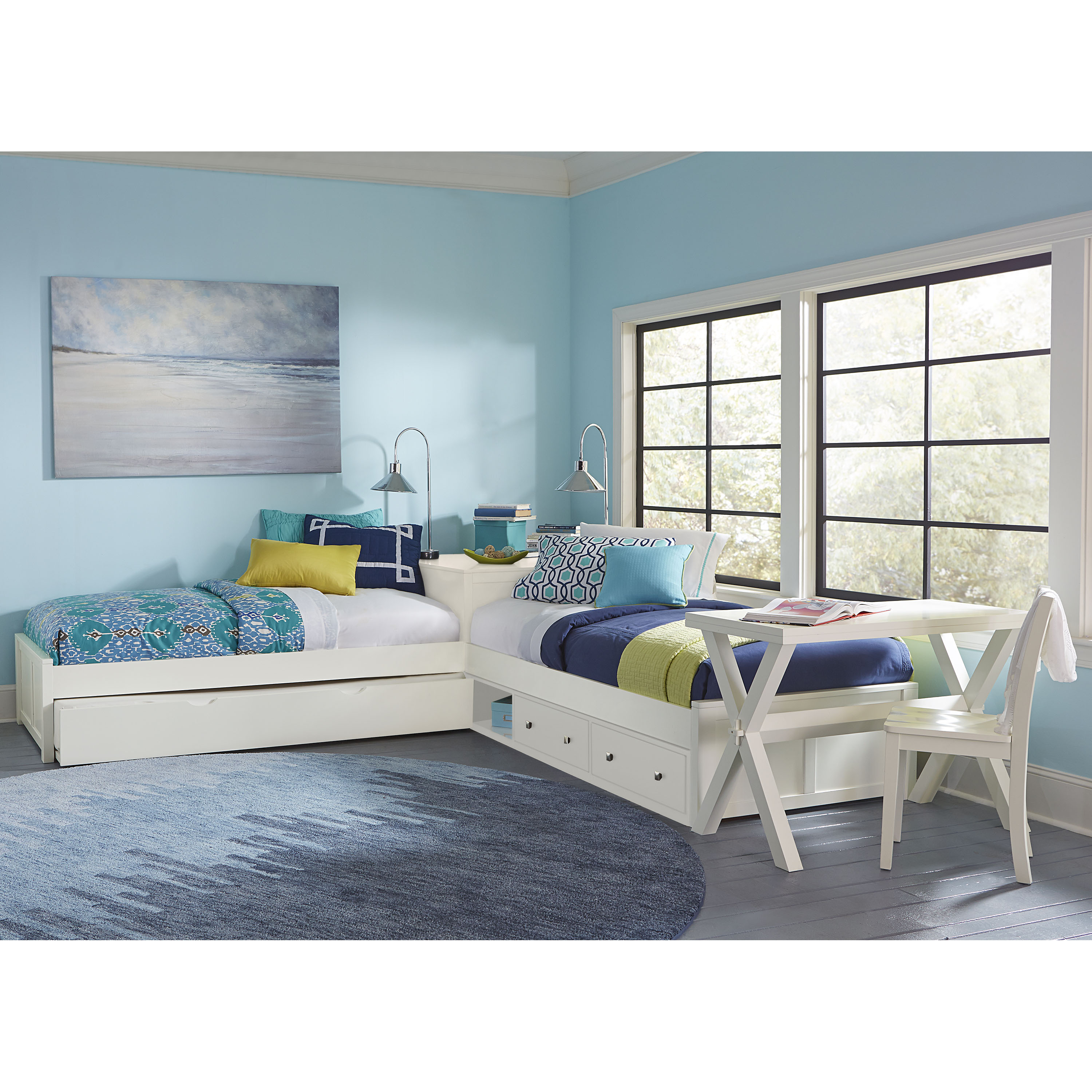 Hillsdale Pulse L-Shaped Twin Bed with Storage and Trundle, Multiple Colors