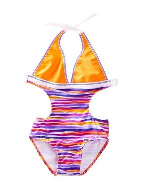 Azul Little Girls Purple Orange Stripe Lilac And Stitch Monokini Swimsuit
