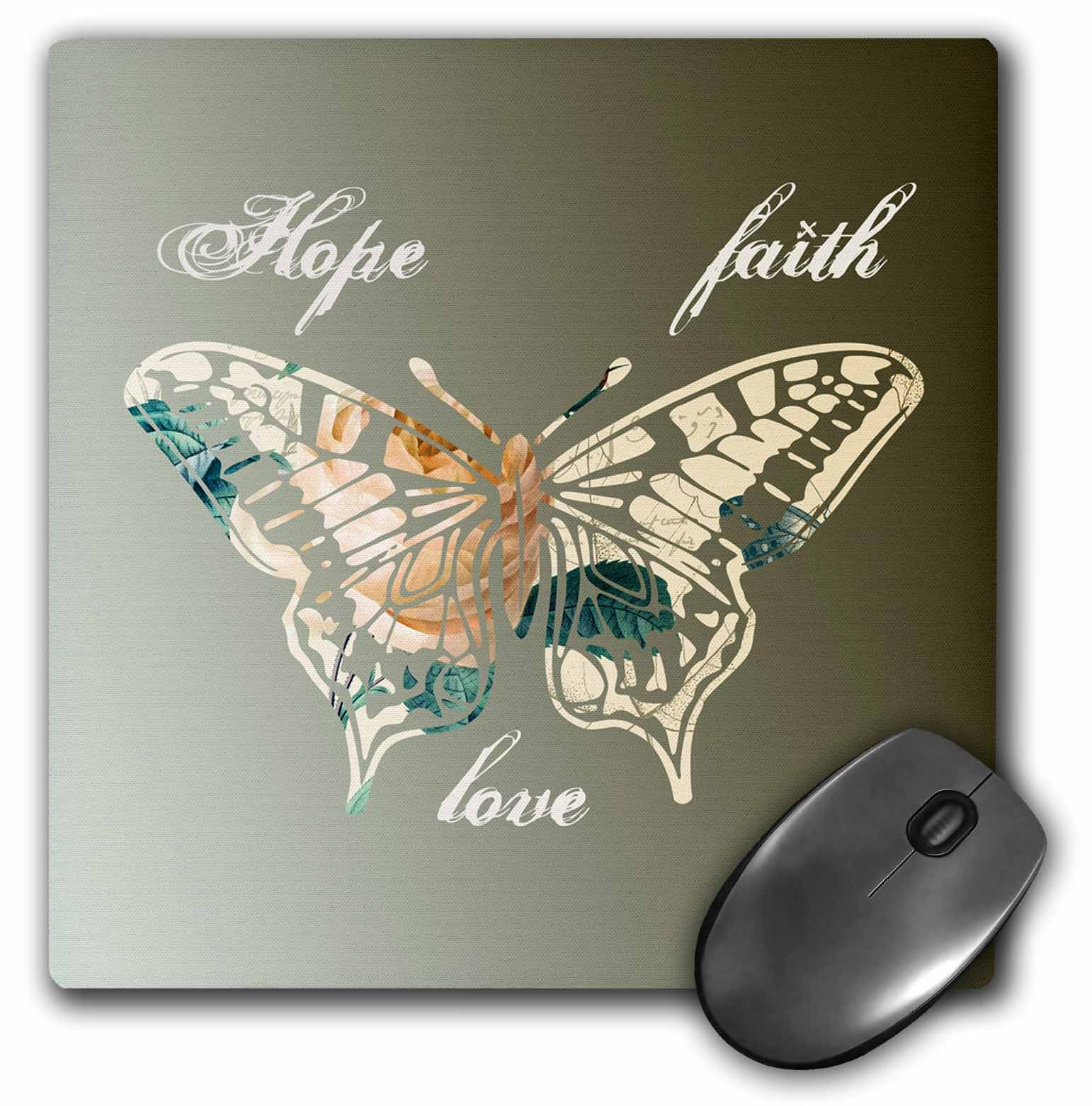3dRose Hope, Faith and Love Gold Butterfly inspirational art, Mouse Pad, 8 by 8 inches by 3dRose