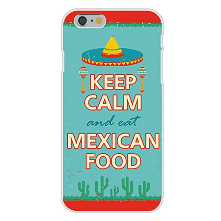 Apple iPhone 6+ (Plus) Custom Case White Plastic Snap On - Keep Calm and Eat Mexican Food w/ Sombrero &